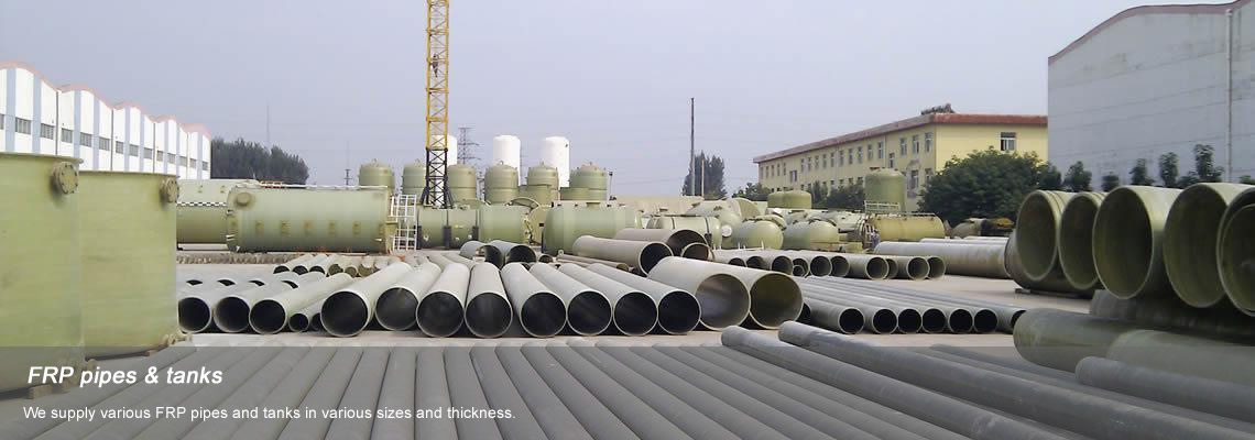 Various FRP pipes and tanks in our factory