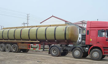 A FRP transportation tank is mounted on the truck allowing for easy liquid transportation