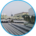 Various types of FRP pipes and tanks are placed in our factory